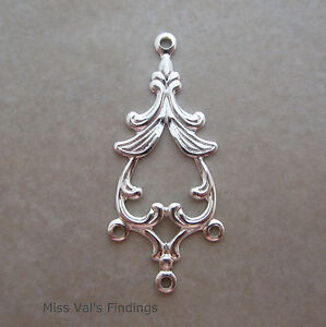 10-drop-connector-silver-plated-jewelry-link-fancy-spade-design