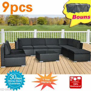 Wicker-Rattan-Garden-Set-Indoor-Outdoor-Sofa-Lounge-couch-Setting-Furniture-9Pcs