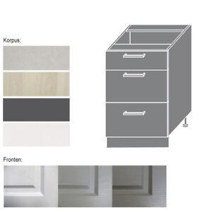Details zu Unterschrank Küchenschrank Schrank Küche 60cm Schubladen  Teilauszug (EB-D3M/60)