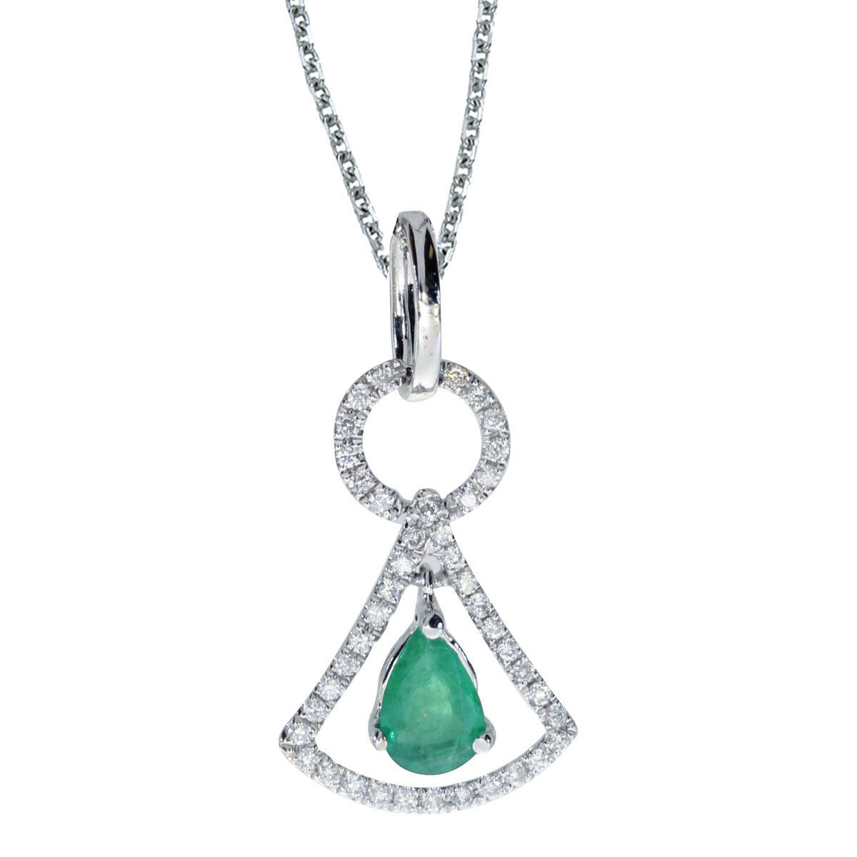 14k White gold Emerald and .16 ct Diamond Pendant with 18  Chain