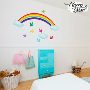 Regenbogen v gel wolken kinderzimmer wand sticker kinder for Sticker wand kinderzimmer
