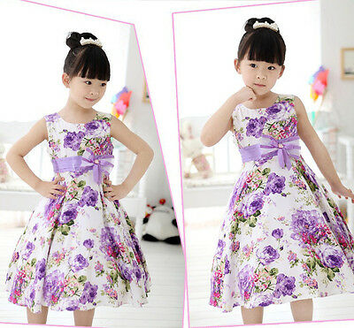 2015 Chic Baby Girls Kids Wedding Prom Party Flower Bow Gown Fancy Dresses 2-11Y