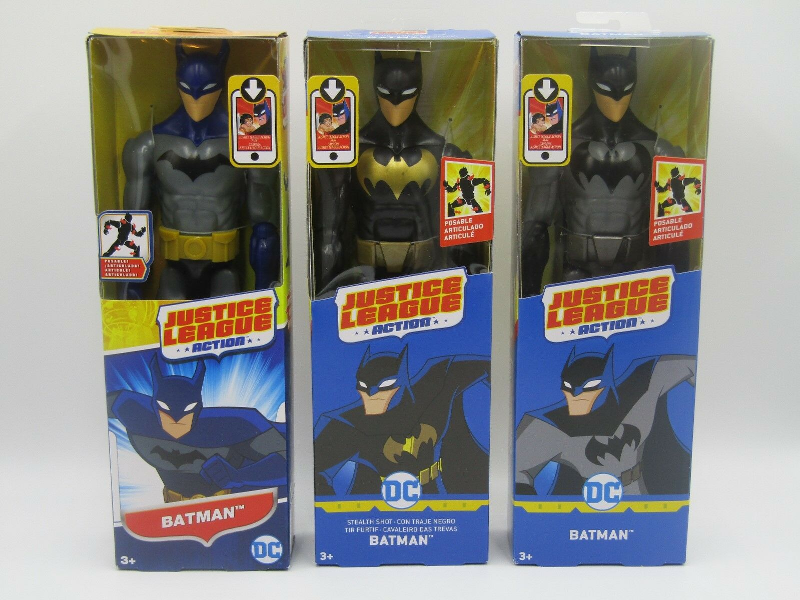 Justice League Batman Trio, Grau/blk, Grau/Blau & Blk/Blk 12in Action Figures