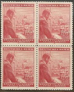 Stamp Germany Bohemia B&M Mi 127 Sc B19 Block 1943 WW2 3rd Reich Hitler MNH