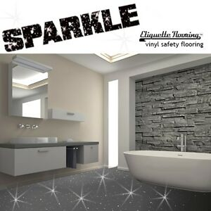 Genial Image Is Loading GREY SPARKLE SAFETY FLOORING BATHROOM FLOOR VINYL LINO