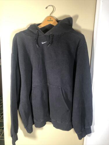 Vintage Nike Center Swoosh Black Hoodie  Sweatshir