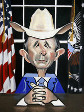 PRESIDENT GEORGE W BUSH YOU BEEN CUBED ORIGINAL PAINTING ART ANTHONY FALBO