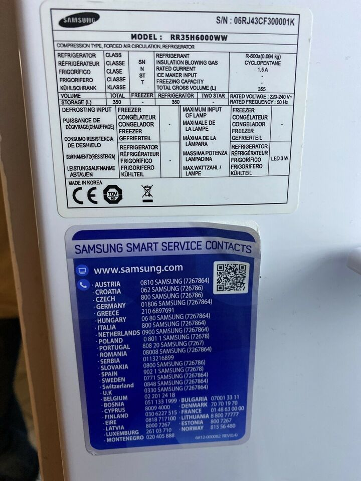 Køle/svaleskab, Samsung rr35h6000ww, 350 liter