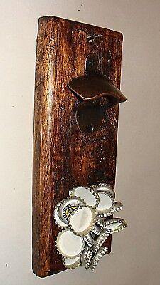 1 Neodymmagnet  Douglasie geflämmt gewachst Wand Flaschenöffner Holz bronzefbg
