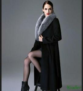 multiple colors new cheap good looking Womens Cashmere Fox Fur Collar Winter Wool Coat Long Full Length ...