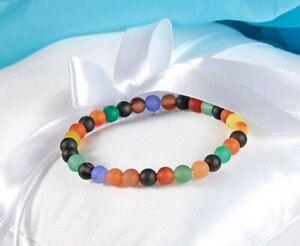 Bracelet en Agate multicolore dépoli diam:6mm - Lithothérapie pierre naturelle