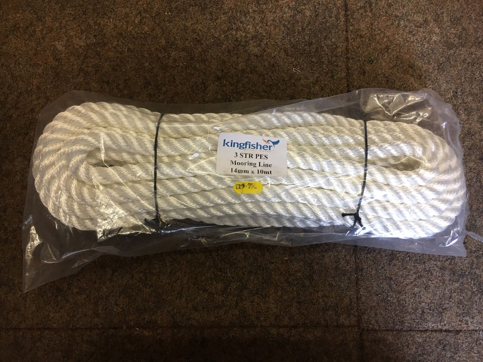 Kingfisher Mooring Line 3 Strand Polyester Yacht Boat Rope Spliced Eye 14mm 10m