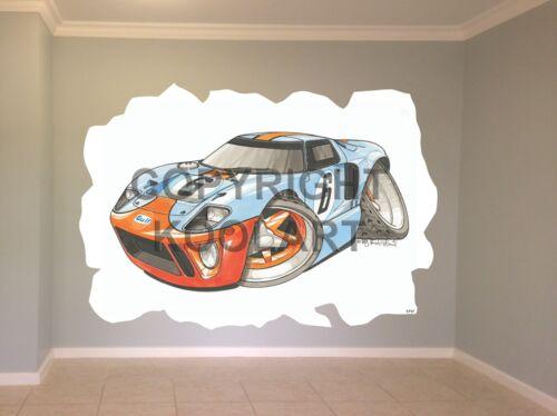 Énorme Koolart Cartoon Ford Gt40 Autocollant Mural Affiche Mural 1717