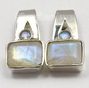 925-STERLING-Silver-BLUE-RAINBOW-MOONSTONE-2-GEM-NEW-Studs-Earrings-3-4-034
