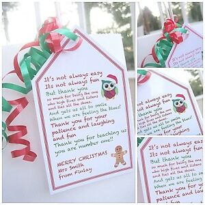 1 X Personalised Christmas Thank You Teacher Gift Tag Gift Label Thank You Poem Ebay