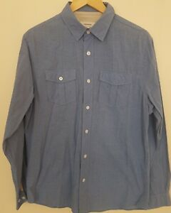 AS-NEW-MENS-SIZE-M-COUNTRY-ROAD-BLUE-WHITE-MICRO-COTTON-CHECK-SHIRT