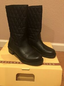 black LEATHER BOOTS size 8
