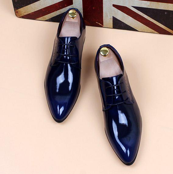 Mens pointy toe dress formal patent leather wedding shoes Shinning Formal New