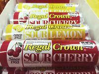 Regal Crown Sour Candy 4pk Sampler - 2 Sour Lemon & 2 Sour Cherry Free Shipping