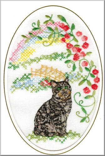 Short Haired Tabby Cat Rainbow Bridge Card Embroidered by Dogmania