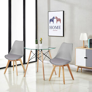 Details About Gl Round Dining Table And 2 Chairs Retro Solid Wood For Small Kitchen