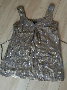 Ladies-Top-Size-6-WAREHOUSE-Gold-Shimmer-Sequin-Party-Evening-Wedding