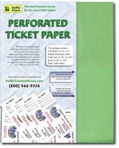 perforated raffle ticket paper 67lb green card stock