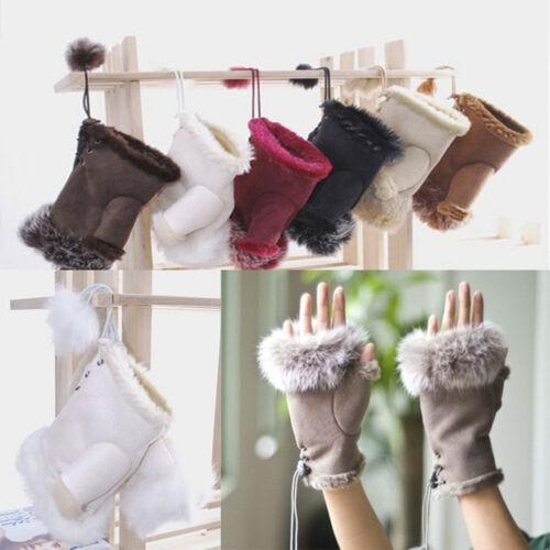 UK/_ DR7 Girl Trim Winter Warm Genuine Soft Gloves Fingerless Rabbit Fur Women Co