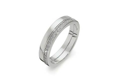 STERLING SILVER CUBIC ZIRCONIA HALF ETERNITY BAND RING FOREVER MESSAGE