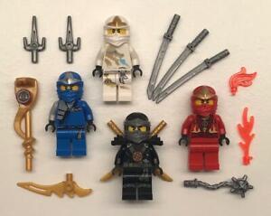 Lot of 4 100/% Genuine Lego Ninjago RANDOM Minifigures Lloyd Zane Cole Kai Jay