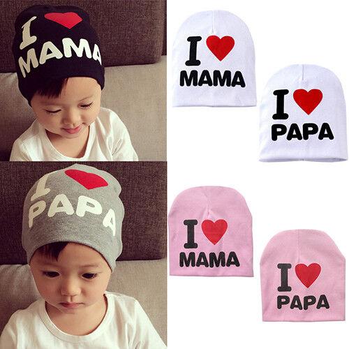 HD/_ BH/_ Infant Baby Beanie Cap Boy Girl Toddler I Love Papa Mama Cotton Blend Ha