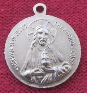 Vintage-Catholic-Religious-Holy-Medal-JAPAN-Sacred-Heart-034-THY-KINGDOM-COME-034