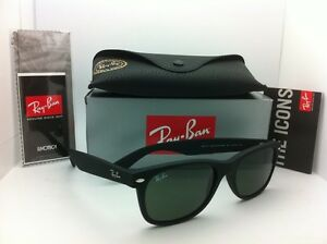 295741f32d2dd New Ray-Ban Sunglasses RB 2132 NEW WAYFARER 622 55-18 Black Rubber G ...