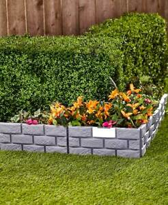 Set Of 4 Stone Look Gray Colored Garden Border Edging W