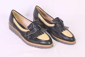 C1118 Kessi Damen Slipper Loafer Gr. 36 schwarz beige Fransen Vintage ungetragen