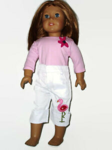 Outfit-fits-American-Girl-18-in-doll-clothes-Embroidered-Flamingo-Carpi-Shirt