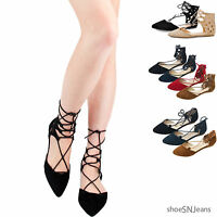New Women Casual Fashion Pointy Toe Wrap Lace Up Flats Strappy Ballet Flat Shoes