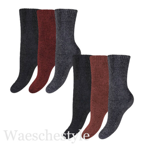6 Paar Damen Thermo Vollfrottee Sport Socken mit Komfort-Softbund Thermosocken