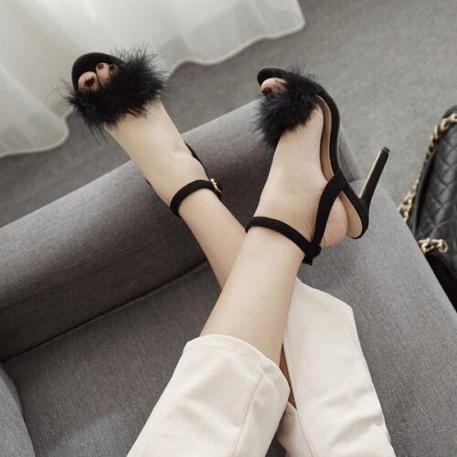 Pelle 9638 Sandali Eleganti Cm Simil Nero 12 Stiletto Pelo Tacco qg4q8p