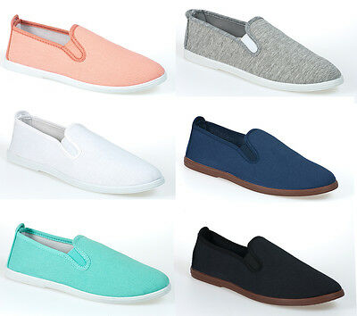 NEW LADIES CANVAS SLIP ON PUMPS WOMENS CASUAL PLIMSOLLS TRAINERS SHOES SIZE