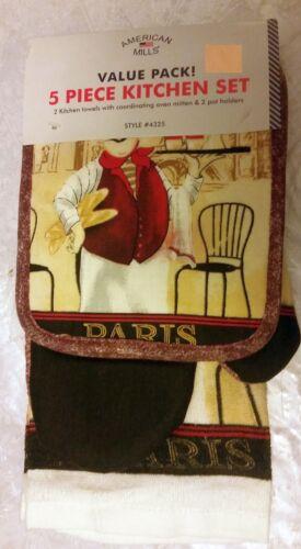 PARIS FAT CHEF 2 POT HOLDERS,1 OVEN MITT /& 2 TOWELS 5 pc KITCHEN SET sp by AM