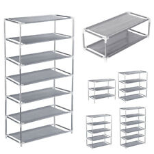 Yinuoday 3 Tier Shoe Rack Organizer Storage Unit Plastic Aluminum Metal Standing Shoe Shelves DIY Stackable Home Bench for Living Room Entryway