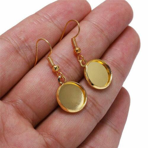 10pcs Trays Blank Drop Earring Hook Base Settings for DIY Jewelry Making Finding