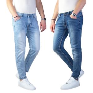 Jeans-Uomo-Slim-Fit-Pantalone-Tasca-america-Blu-Casual-Elasticizzato