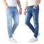 Jeans-Uomo-Slim-Fit-Pantalone-Tasca-america-Blu-Casual-Elasticizzato miniatura 1