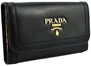 295-PRADA-noir-cuir-Vitello-Shine-cles-etui-porte-Anneau-Chaine-Nouvelle-Collection