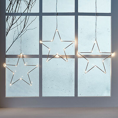 Battery Operated Warm White Micro LED Star Christmas Hanging Window Light