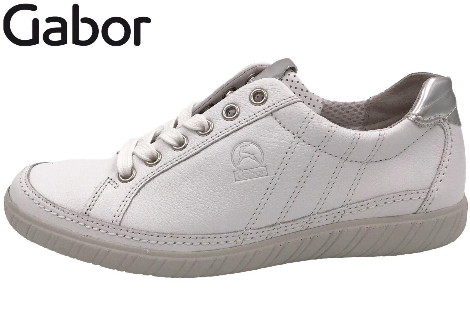 Gabor Comfort Damen Schuhe Sneaker Weiß Leder Weite G Wechselfußbett 86.458.50