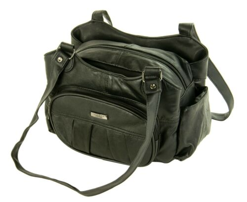New Womens Ladies Lorenz Soft Nappa Real Leather Handbag Organiser Shoulder Bag