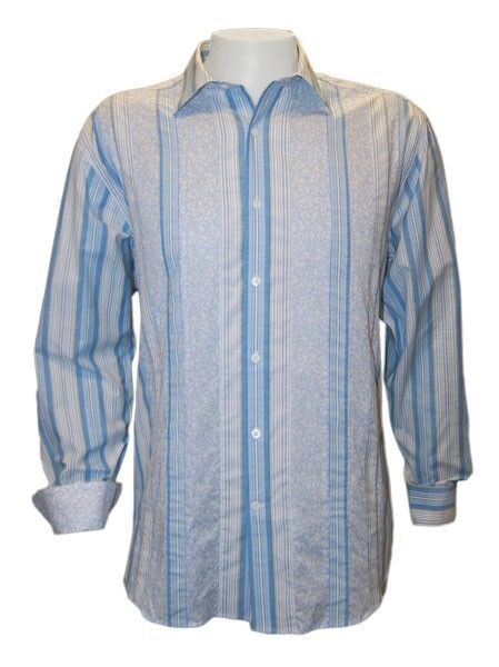 NWT NAT NAST long sleeve shirt M striped pool bluee  contrast cuffs cotton